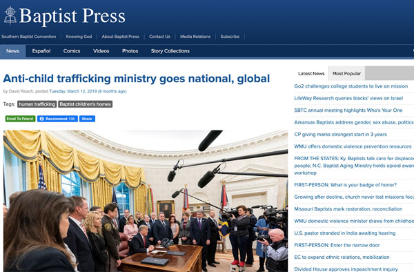 Anti-child trafficking ministry goes national, global